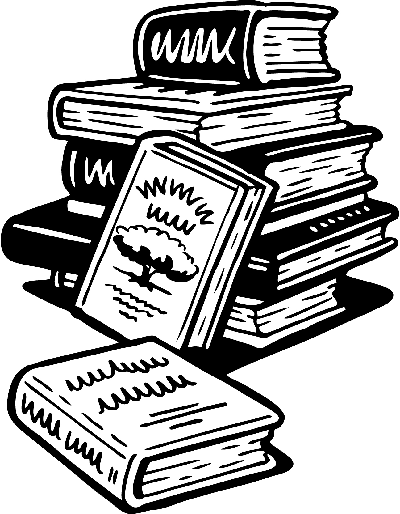 hight resolution of book black and white stack of books clipart