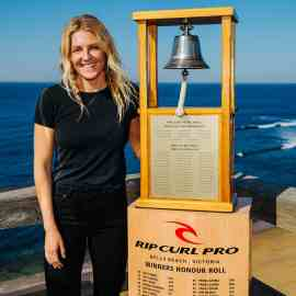 Stephanie Gilmore of Australia at the Press Session at Bells Beach on April 3, 2019 in Victoria, Australia.