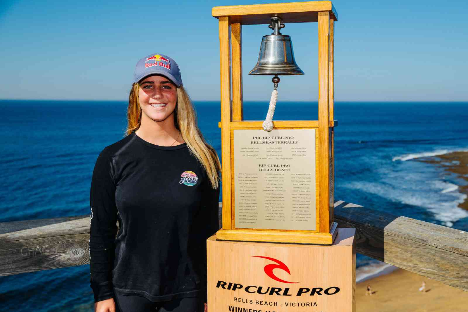 Caroline Marks of USA at the Press Session at Bells Beach on April 3, 2019 in Victoria, Australia.