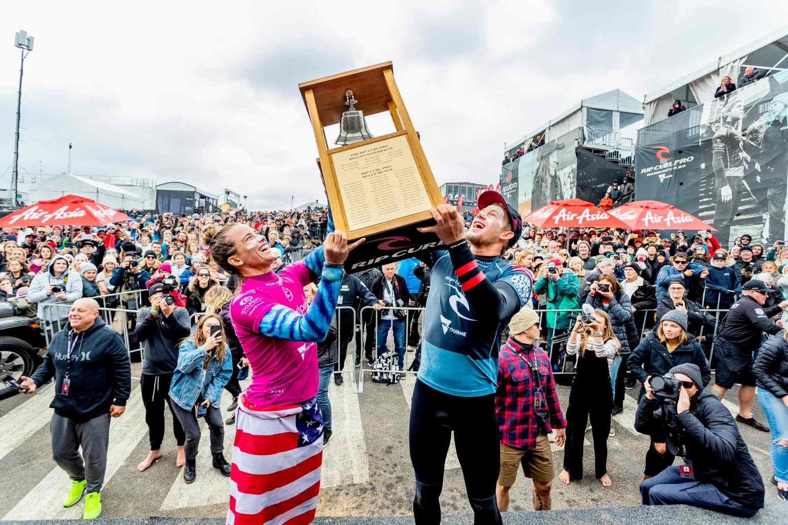 Two-time world champion John John Florence of Hawaii and Courtney Conlogue of the USA win the 2019 Rip Curl Pro Bells Beach after winning the final at Bells Beach on April 27, 2019 in Victoria, Australia.