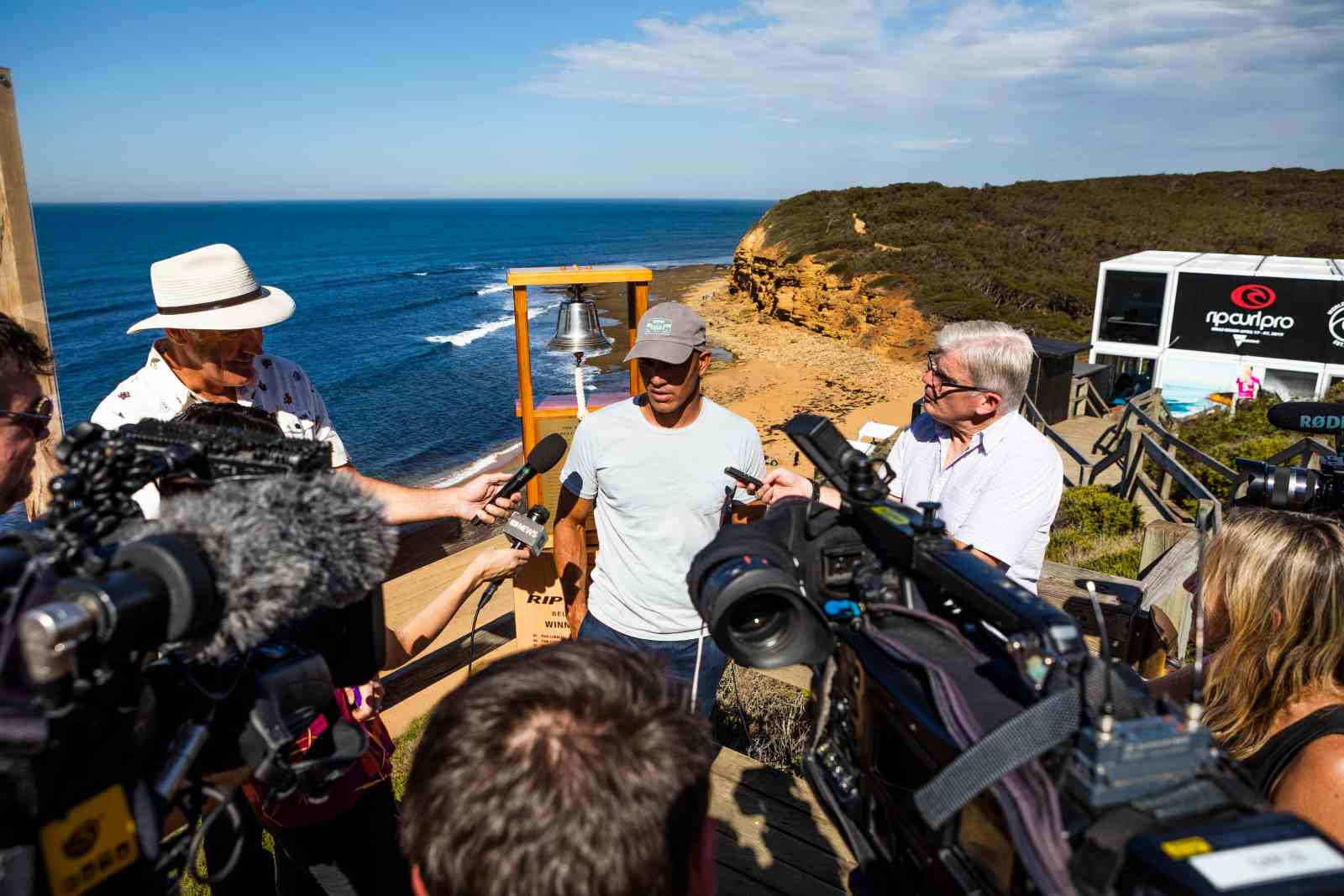 11X World Champion Kelly Slater of the USA is interviewed at the 2019 Rip Curl Pro Bells Beach press session at Bells Beach on April 16, 2019 in Victoria, Australia.