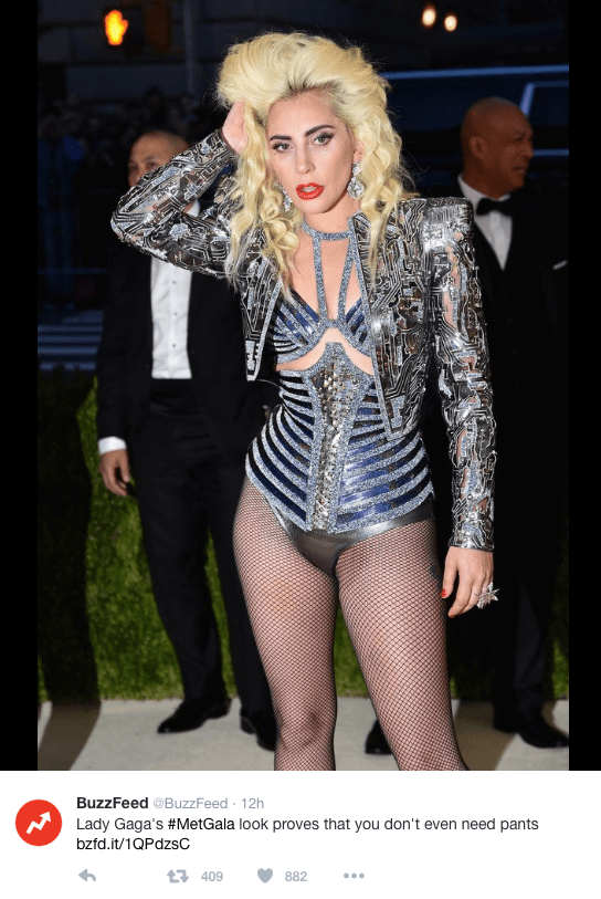 Lady Gaga poses in circuitry-inspired jacket at the 2016 Met Gala