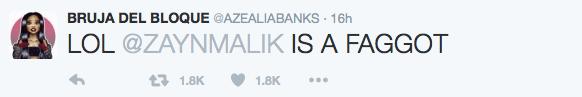 Azealia Banks' tweet calling zayn Malik a faggot