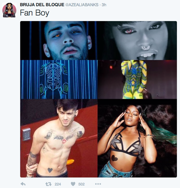 Azelia banks' tweet saying zayn malik is her fan boy and showing images of zayn and azealia in similar poses