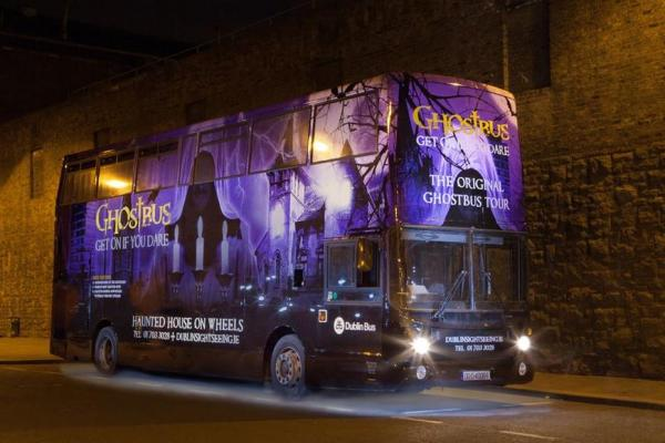 Dublin Ghost Bus Tour bus which is a part of our top 5 romantic date ideas: Dublin guide
