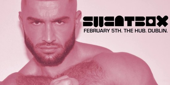 Sweatbox, a place where gay dating in dublin takes place, pink poster with francois sagat