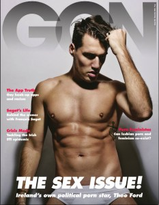 Theo Ford in white briefs holding his hair on the cover of GCN's sex issue