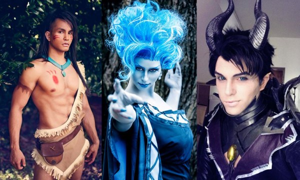 A male pocahontas, female hades, and male maleficent showing gender non-conforming halloween costumes