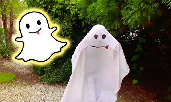 Snapchat ghost which is one of the non-binary halloween costumes