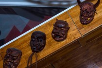 Wooden carved heads on a board from Yamamori Sushi, who's manager Graham Ryan we interviewed in this month's Amuse Bouche