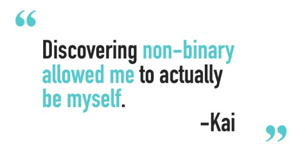 """Quote for non-binary people saying """"discovering non-binary identity allowed me to actually be myself"""""""