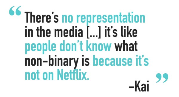 """A quote from a non-binary person called Kai, saying """"There's no representation in the media [...] it's like people don't know what non-binary is because it's not on Netflix."""