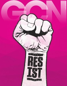 The cover of GCN with a white fist on a pink background