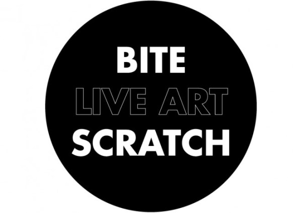 a circle with the words Bite live art scratch in it from the Live Collision international festival