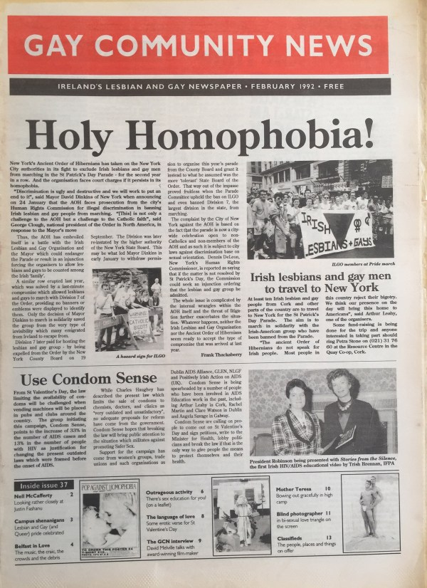The 1992 Issue in the Evolution of GCN, Ireland's National LGBT Publication with news and images on the cover