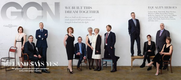 the post-marriage equality cover of gcn with LGBT rights advocates standing and sitting against a grey wall