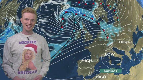 BBC presenter Owain Wyn Evans wearing a Britney Spears Christmas Jumper