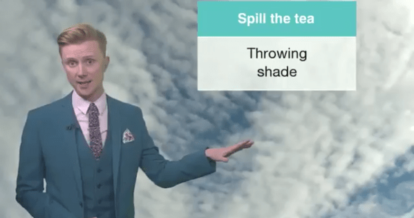 BBC presenter Owain Wyn Evans during his weather forecast