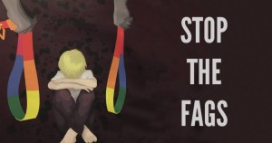 An anti marriage equality poster from australia that shows two men with rainbow belts and a sad child in a foetal position alongside the words stop the fags