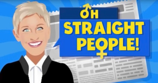The new elle degeneres segment graphic that shows a cartoon of Ellen in front of a newspaper with the words Oh Straight People beside her.