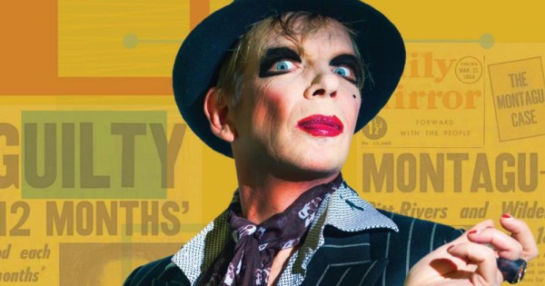 One of the performances at this year's outburst arts festival showing David Hoyle in front of an orange and yellow background with make-up on and a bowler hat
