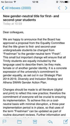 Screenshot of email sent to all studenst from Trinity college