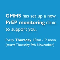 The GMHS Ad promoting their new PrEP monitoring service