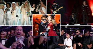 Time's Up Elton John, Gaga, Pink, puppies and Hilary Clinton were just some of the highlights of the 60th Grammy Awards.