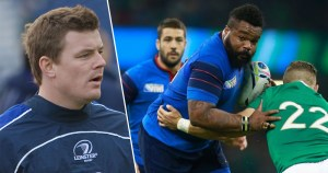 Rugby star Brian O'Driscoll on the left and Mathieu Bastareaud on the right