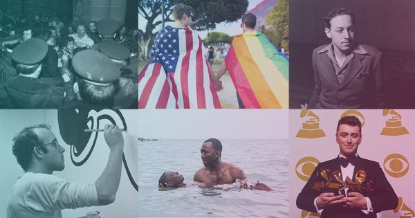 Queerstory image collage of Canandian Stonewall, two men hold hands wearing an american flag and a gay pride flag, Tennesse Williams, Keith Haring, Moonlight and Sam Smith