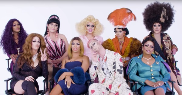 The cast of Drag Race All Stars 3 reacting to the previous season reading challenge