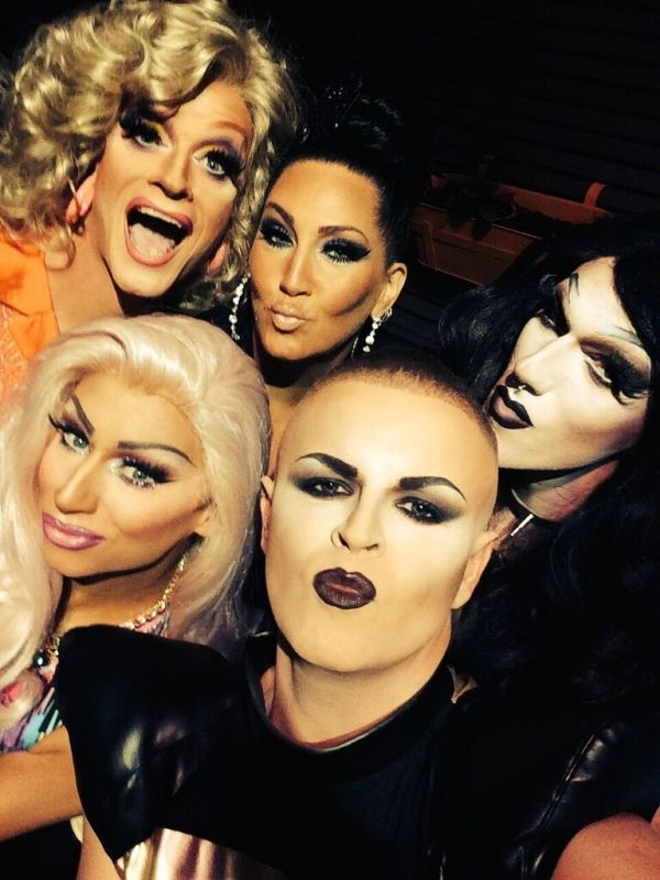 Paul Ryder with some of Ireland's most amazing Drag Queens and Michelle Visage