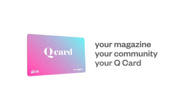 A photo of GCN's Q Card with a writing that says: your magazine, your community, your Q Card