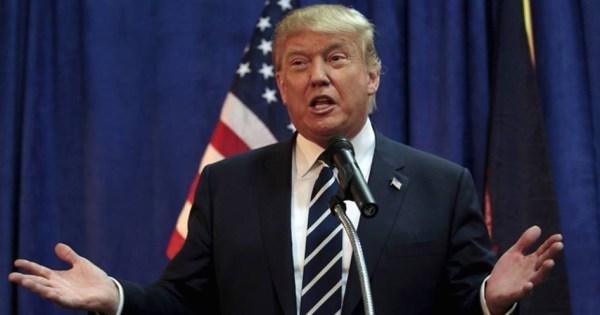 US President Donald Trump during a speech.