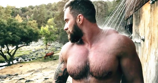 Instagram star Abramov Lex showering outdoor