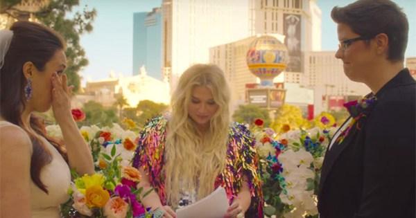 Singer Kesha officiating a lesbian wedding