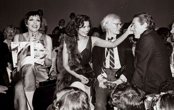 Liza Minelli, Bian c a Jagger, Andy Warhol, and Halston at Studio 54. Photographer: Adam Schull.