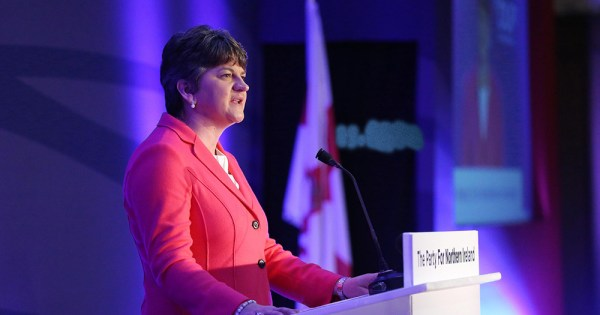 DUP leader Arlene Foster pictured speaking at an event