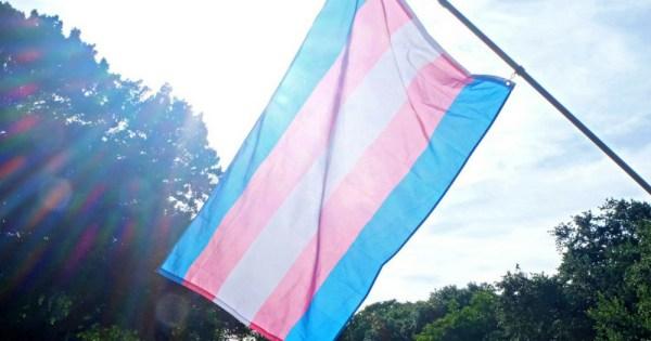 Flying the transgender flag in celebration of the reclassification of gender dysphoria