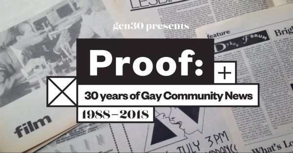 Logo for Proof 30 years of GCN exhibition