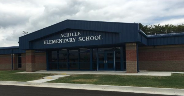 The exterior of Achille Elementary School in Oklahoma which the 12 year-old trans student attends