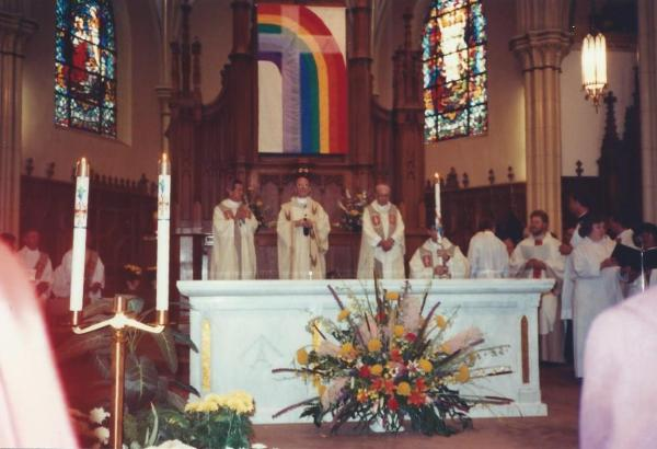 rainbow/cross flag in Chicago church