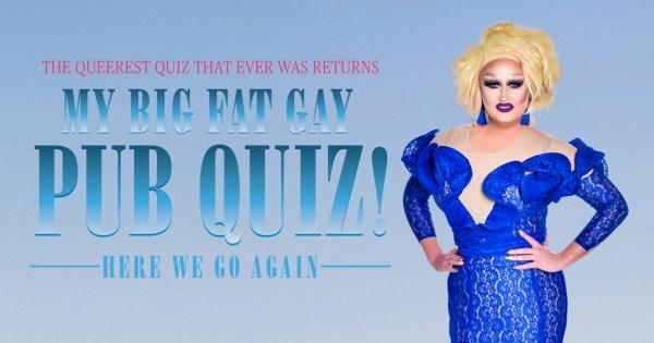 Poster for My Big Fat Gay Pub Quiz featuring drag queen Victoria Secret