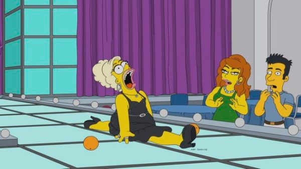 Homer doing the splits dressed in drag in new RuPaul Simpsons episode