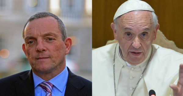 Gay clergy comments made by Pope Francis (right) anger Fine gael TD Jerry Buttimer (left).
