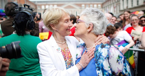 Ann Louise Gilligan and Katherine Zappone at Dublin Castle after marriage equality referendum results were announced.
