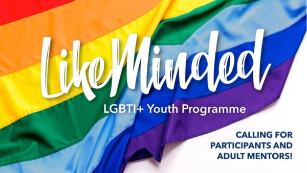 A poster for LikeMinded - LikeMinded is written across a pride flag.