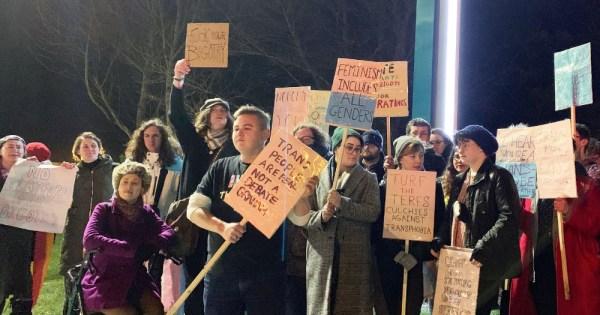 Protestors outside RTE