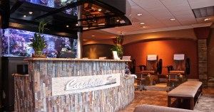 Casabella Spa entrance with fish tank and chairs in the background