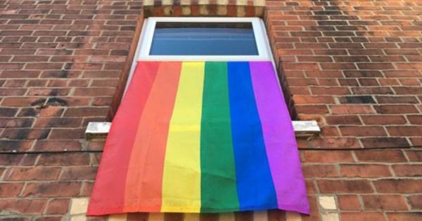 LGBT flags hanging in a neighbourhood